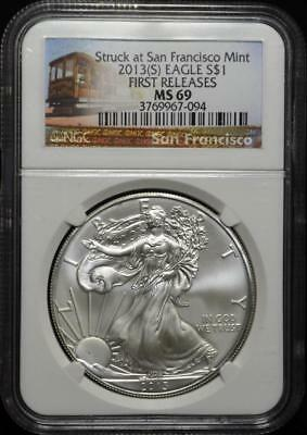 2013 S Silver Eagle $1 NGC MS 69 American Eagle Silver Dollar ASE First Release