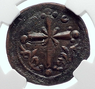 JESUS CHRIST Class I Anonymous Ancient Byzantine Follis Coin CROSS NGC i72081