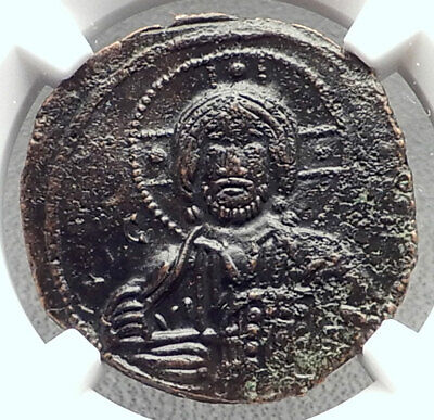 JESUS CHRIST Class A3 Anonymous Ancient 1020AD Byzantine Follis Coin NGC i72084
