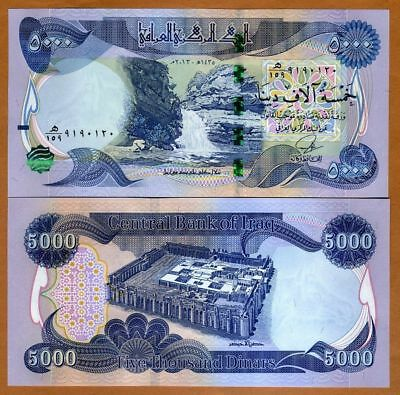 RARE - 5000 New Print Iraqi Dinar (2014) - Authentic with New Security Features
