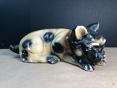 "Vintage Bulldog Ceramic Pottery Dog Figurine Large 13"" chips & cracks Frenchie?"