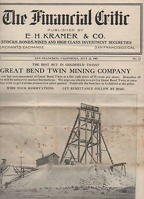 "1907 Magazine "" The Financial Critic "" SF CA Dedicated to Goldfield Nevada Mine"