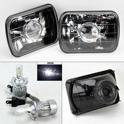 "7X6"" Black Glass Projector Headlight Conversion w/ 6000K 36W LED H4 Bulbs Plym"