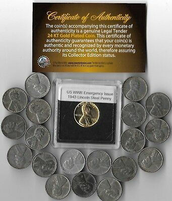 Rare Old WWII US Collection USA WW2 20 Cent War Big Lot 24k Gold Plated Coin U22