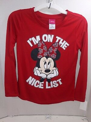Disney Minnie Mouse Girls I'm On The Nice List Red  Graphic Shirt M 7/8