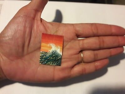 Original 1 x1.5 Inch Dollhouse Painting Seascape Waves Ocean Miniature Art HYMES