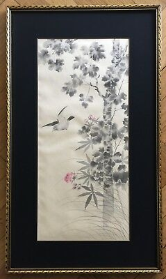 Antique Japanese Original Watercolor & Ink Painting On Silk With Artist Sealed