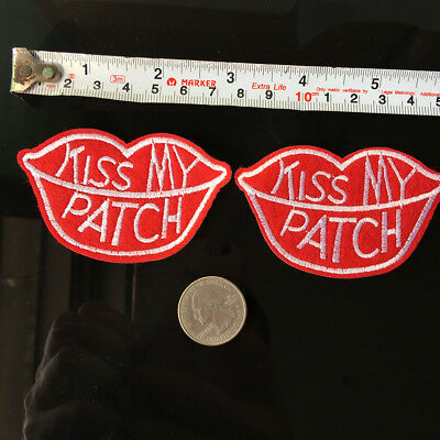 Red Kiss My Patch Lips Embroidery Applique Iron on Sewing DIY Funny Comedy Edgy