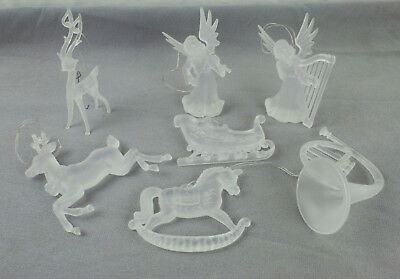 Set of 7 Crystal Christmas Tree Ornaments in Excellent Condition