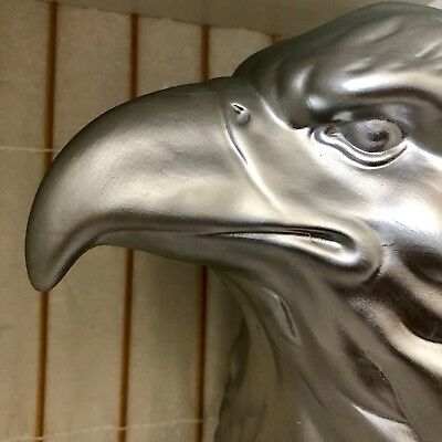 BIG Faux Taxidermy USA AMERICAN BALD EAGLE Head Wall Mount Matte Silver Ceramic