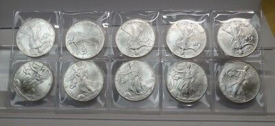Group Of 10 $1 American Silver Eagles - All 1996  - 1 Oz 999 Fine Silver Each