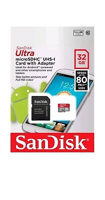 SanDisk Ultra 32 GB microSD SDHC UHS-I Class 10 Memory Card 80MB/s + SD Adapter
