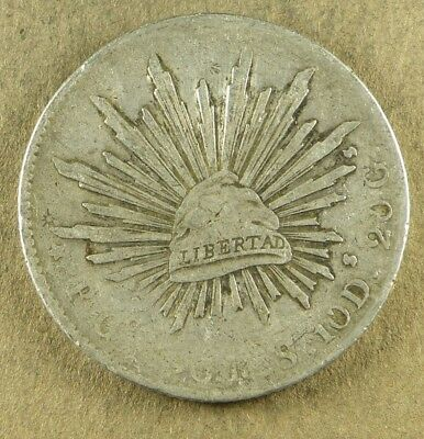 DATE NOT VISIBLE-1896 or a 1890 MEXICO 8 REALES, .7859 OUNCE SILVER, U-GRADE