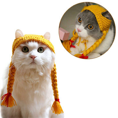 Cat Woolen Knitted Braid Hat Kitten Costume Cap For Holiday Party Pet Accessory