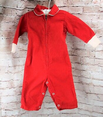 Vintage Sears Red Corduroy One Piece Romper Baby Size 9-12 Months