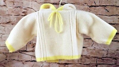Vintage White Yellow Knit Hooded Sweater Boys Baby Size 6-9 Months Zippered