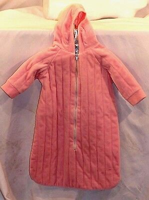 Schwab Girls Pink One Piece Hooded Baby Size 0-3 Months Terrycloth Outer Wear