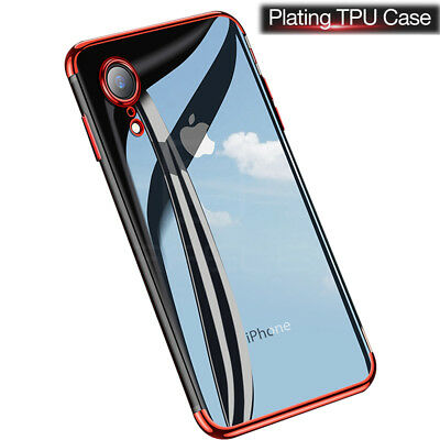 For iPhone Xs Max X Xr Plating Bumper Case Clear Slim Soft Protective Cover