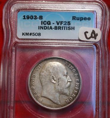 1903-B India British Rupee Silver Foreign Coin