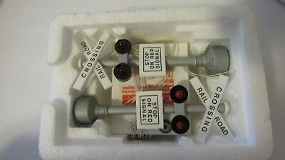 Department 56 Village Railroad Crossing Lights & Battery Adapter Train Accessory
