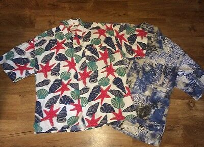 Lot Of 2 Vtg J.t. Beckett Tropical Print Button Front Shirt Size Large ~ Nice!