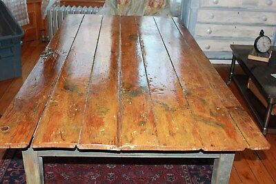 Antique Farmhouse Kitchen Dining Table by Stephen C. Staples