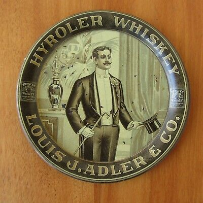 Antique Hyroler Whiskey Tip Tray Louis J. Adler & Co 1910s Lithograph  4.25""