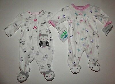 Baby girl clothes, Preemie, Carter's Child of Mine 2 soft footies/New Arrival!