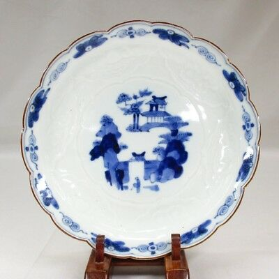 G141: Japanese plate of really old KO-IMARI blue-and-white porcelain with relief