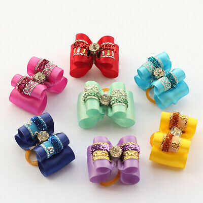 Mix Rhinestone Ribbon Hair Bows For Small Dog Cat Pet Grooming Hair Accessories