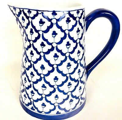"""Porcelain Pitcher Blue And White Andrea by Sadek 7"""" #710 Brand New"""