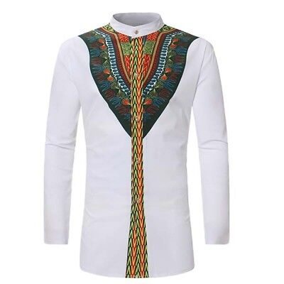 Men African Tribal Shirts Dashiki Print Succinct Hippie Blouse Casual Clothing