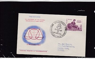 Indien 364 FDC 1963 ELEANOR ROOSEVELT MENSCHENRECHTE HUMAN RIGHTS INDIA COVER