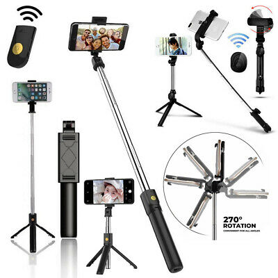 Extendable Selfie Stick Tripod Mount Remote Control Shutter For iPhone CellPhone