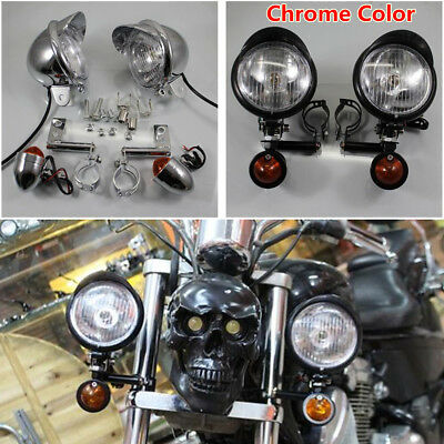 Motorcycle Front Passing Driving Turn Signal Spot Fog Lamp Light Kit for Harley
