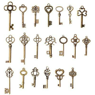 Skeleton Keys Antique Vintage Old Bulk Large Lock Key Brass Bronze 20 Set Door