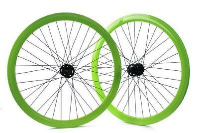 Pair of single speed wheels height of the rim 43mm green color RIDEWILL BIKE Bic
