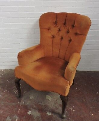Vintage Gold Velour Chesterfield Style Chair Armchair
