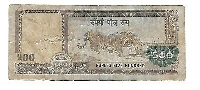 Beautiful NEPAL 500 Rupees Mountain Tiger Nepalese Note  Gorgeous Note !