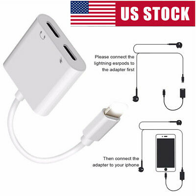 2in1 Lightning Adapter Headphone Audio Cable Charger Splitter For iPhone X/7/8 p