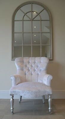 White Crushed Velvet Armchair Chair/Bedroom Chair. Handmade in UK