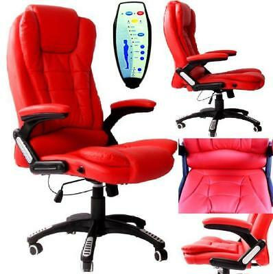Red PU Leather Executive Office Massage heat Computer Reclining Chair Swivel