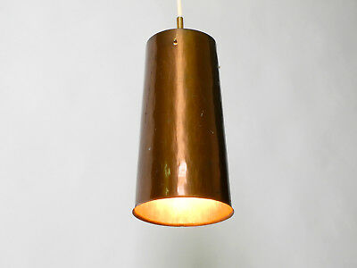 Beautiful Mid Century Modern pendant lamp made of copper shaped like a cone