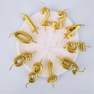 Number 0-9 Happy Birthday Gold Candle Cake Decoration Party Supplies Baking Gift