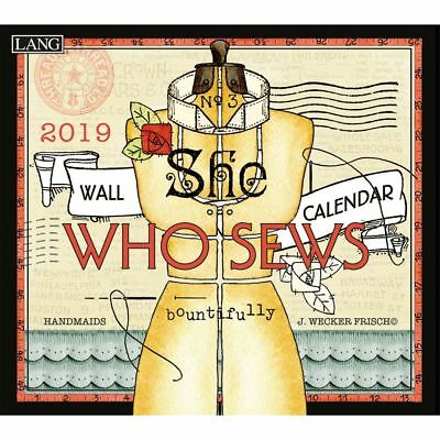NEW She Who Sews by Janet Wecker Frisch 2019 Lang Wall Calendar Packed Well