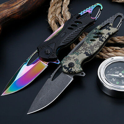 """8"""" Pocket Folding Tactical Spring Assisted Blade Open Knife With Carabiner EDC"""