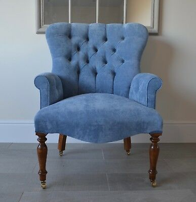 Armchair Blue Velvet Chair/Bedroom Chair. Handmade in UK