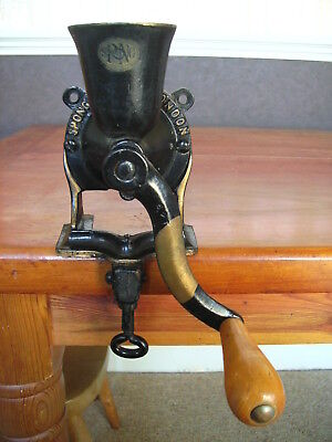Vintage Spong No 0 Coffee Grinder Mill Cast Iron Table or Wall Mounted VGC