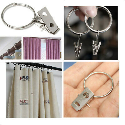 40Pcs Stainless Steel Shower Bath Window Curtain Rod Clips Hook Clips Rings UK