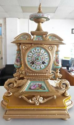Antique French Japy Freres 19th c Gilt Mantle Clock With Aqua Sevres Porcelain